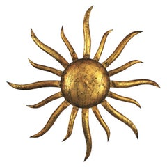 French Sunburst Ceiling Light Fixture or Wall Sconce in Gilt Iron