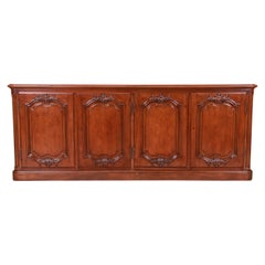 Baker Furniture French Country Walnut Sideboard Credenza, Newly Refinished
