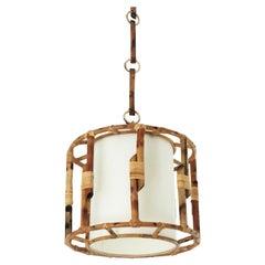 Bamboo Rattan Large Drum Pendant Hanging Light / Lantern, 1960s