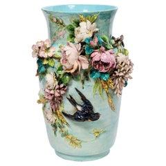 Glazed Ceramic Barbotine Vase with Flowers and Bird, France, circa 1890