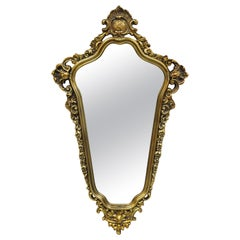 Vintage French Rococo Style Ornate Gold Frame Console Wall Mirror