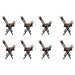 Set of Eight 20th Century Black Leather Side Chairs by Maison Jansen