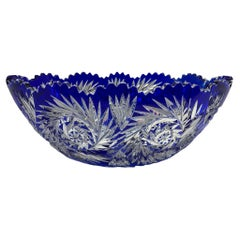 Val Saint Lambert Royal Blue Cut Clear Crystal Large Oval Bowl
