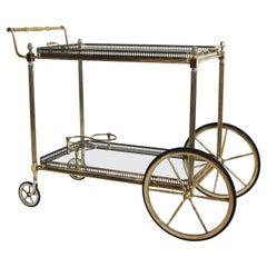 Rare French Maison Jansen Hollywood Regency Bar Cart / Trolley in Brass & Glass