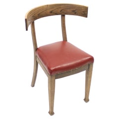 Oak and Leather Klismos Chair, Early 20th Century