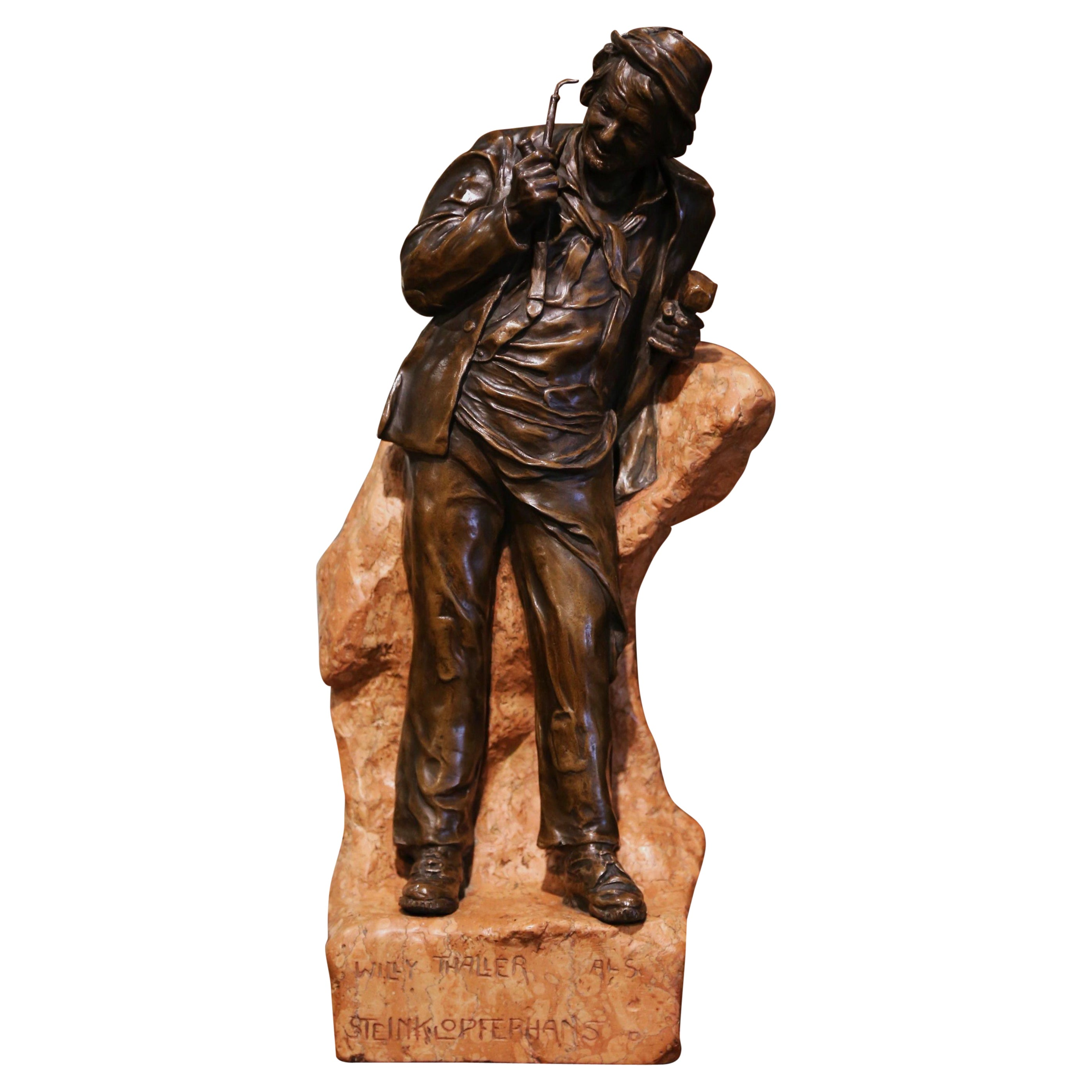 19th Century Austrian Patinated Bronze and Marble Signed Statue of Willy Thaller