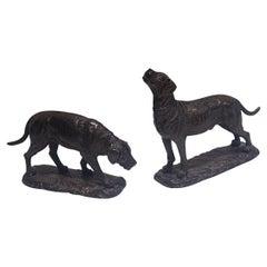 19th century Pair of Bronze Dogs