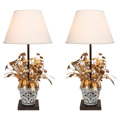 Pair of Bronze and Paris Stone Table Lamps, Attributed to Maison Jansen, C. 1950