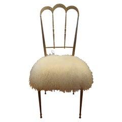 Vintage Italian Brass Chiavari Chair Upholstered in Mongolian Lambs Wool