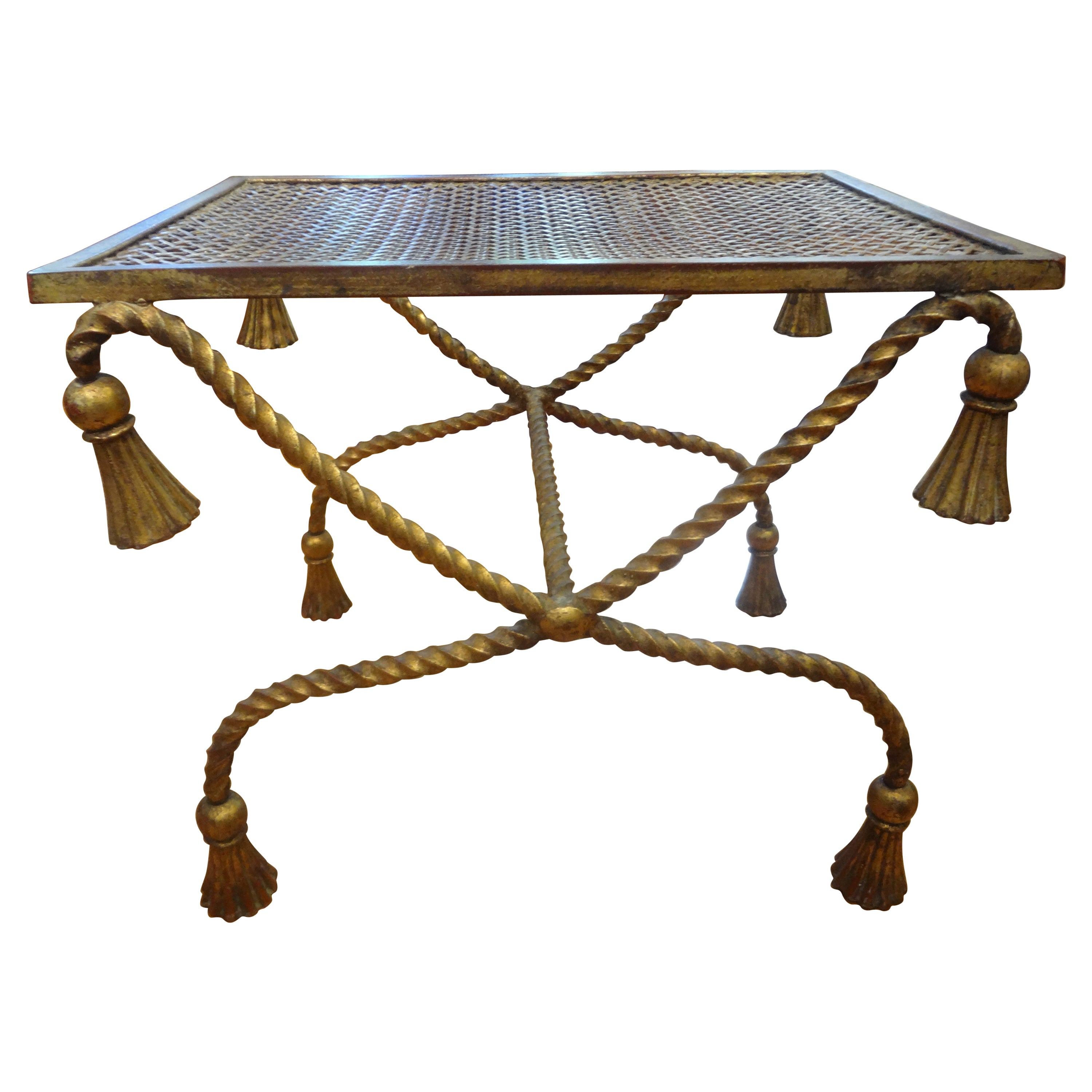 Italian Gilt Iron Rope and Tassel Table or Bench