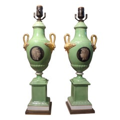 Pair of Italian Neoclassical Style Porcelain Lamps