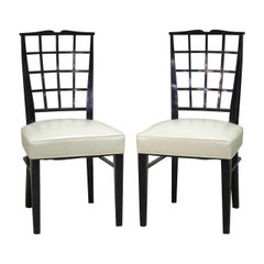 Dominique Pair of Ebonized Side Chairs