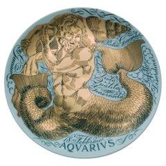 Piero Fornasetti Aquarius Zodiac Porcelain Plate, Aquarius, Dated 1966