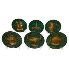 Vintage 1955 Piero Fornasetti Set of 6 Malachite Green & Gold Plates