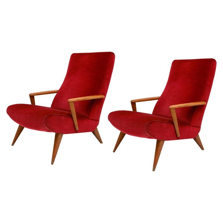Mid Century Pair Italian Red Velvet Wood Elegant Lounge Chairs, 1960's, Italy For Sale