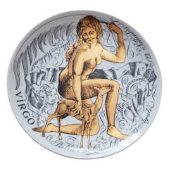 Piero Fornasetti Zodiac Porcelain Plate, Virgo, Dated 1969