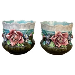 Pair 19th Century French Faience Barbotine Jardinieres, Cachet Pots