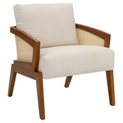 Aurora Cane-Arms Chair in Oak with Ivory Back and Seat