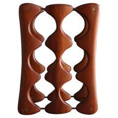 Arthur Espenet Carpenter Carved Walnut & Brass Wine Rack, circa 1967