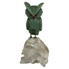 Hand Carved Green Gemstone Owl Sculpture