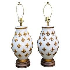 Pair of Large Ceramic Fleur De Lis Lamps