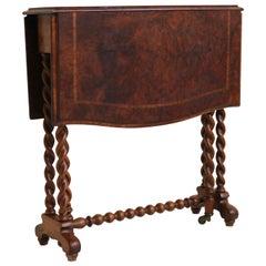 Antique English Barley Twist Foldable Table / Gateleg Table 19th Century Burl