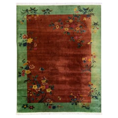 Antique Art Deco Handmade Floral Chinese Green and Brown Wool Rug