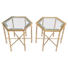 Pair of Solid Brass Faux Bamboo Mastercraft Hexagonal Side Tables