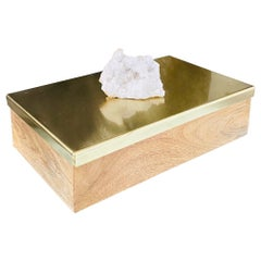 Vintage Brass and Wood Decorative Box with Large Quartz Crystal Stone, Brazil