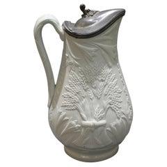 19th c. Salt Glaze Stoneware Pitcher with Pewter Lid