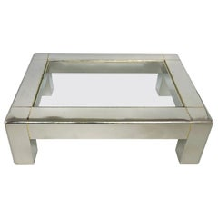 Karl Springer Stainless Steel Coffee Table with Brass and Glass Top