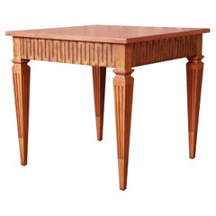 Baker Furniture French Regency Louis XVI Cherry Wood and Parcel Gilt Tea Table