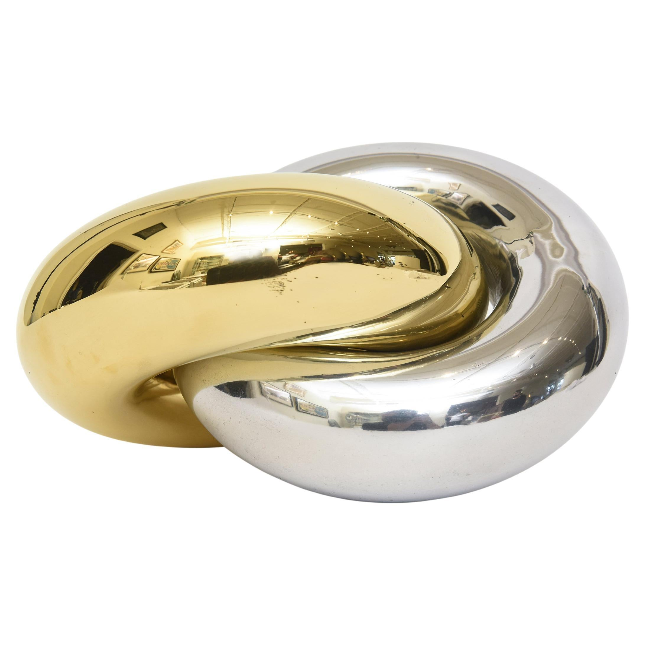 Intertwined Twisted Brass and Chrome Plated Ring Sculpture Vintage