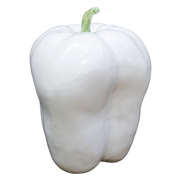 Large White Ceramic Pepper, 1970s For Sale