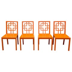 Set of 4 Fretwork Orange Dining Chairs