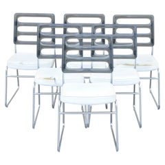 Mid Century Smoked Lucite Back Chrome Frame Base Dining Chairs, Set of 6
