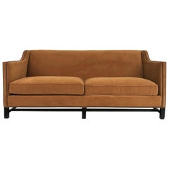 Bernhardt Furniture Mohair Sofa with Bronze Nailheads and Poly/Down Cushions