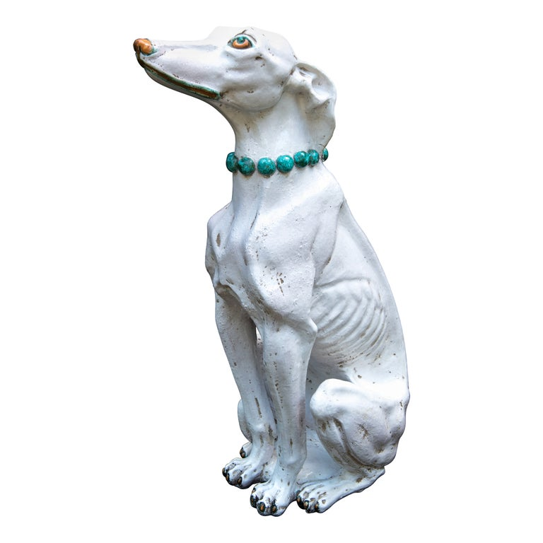 Glazed Terra Cotta Stylish Greyhound For Sale