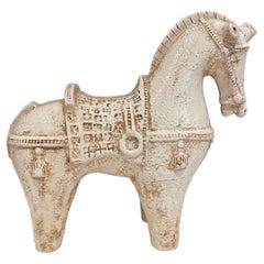 Extra Large Rare Cream Color Ceramic Horse by Aldo Londi for Bitossi, 1960s