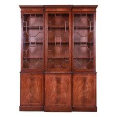 Baker Furniture Georgian Mahogany Lighted Breakfront Bookcase Cabinet