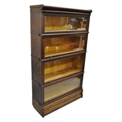 Antique Macey Tiger Oak Barrister Stacking Lawyers Bookcase 4 Sections w/ Drawer