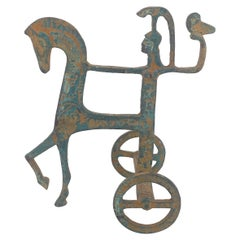 Patinate Etruscan Horse and Chariot Sculpture in the Style of Frederick Weinberg