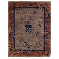 Antique Art Deco Handmade Floral Chinese Motif Wool Rug