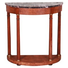 Baker Furniture Empire Burl Wood Marble Top Demilune Console Table