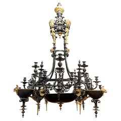 Antique French Painted Iron and Gilt Bronze 20 Light Chandelier