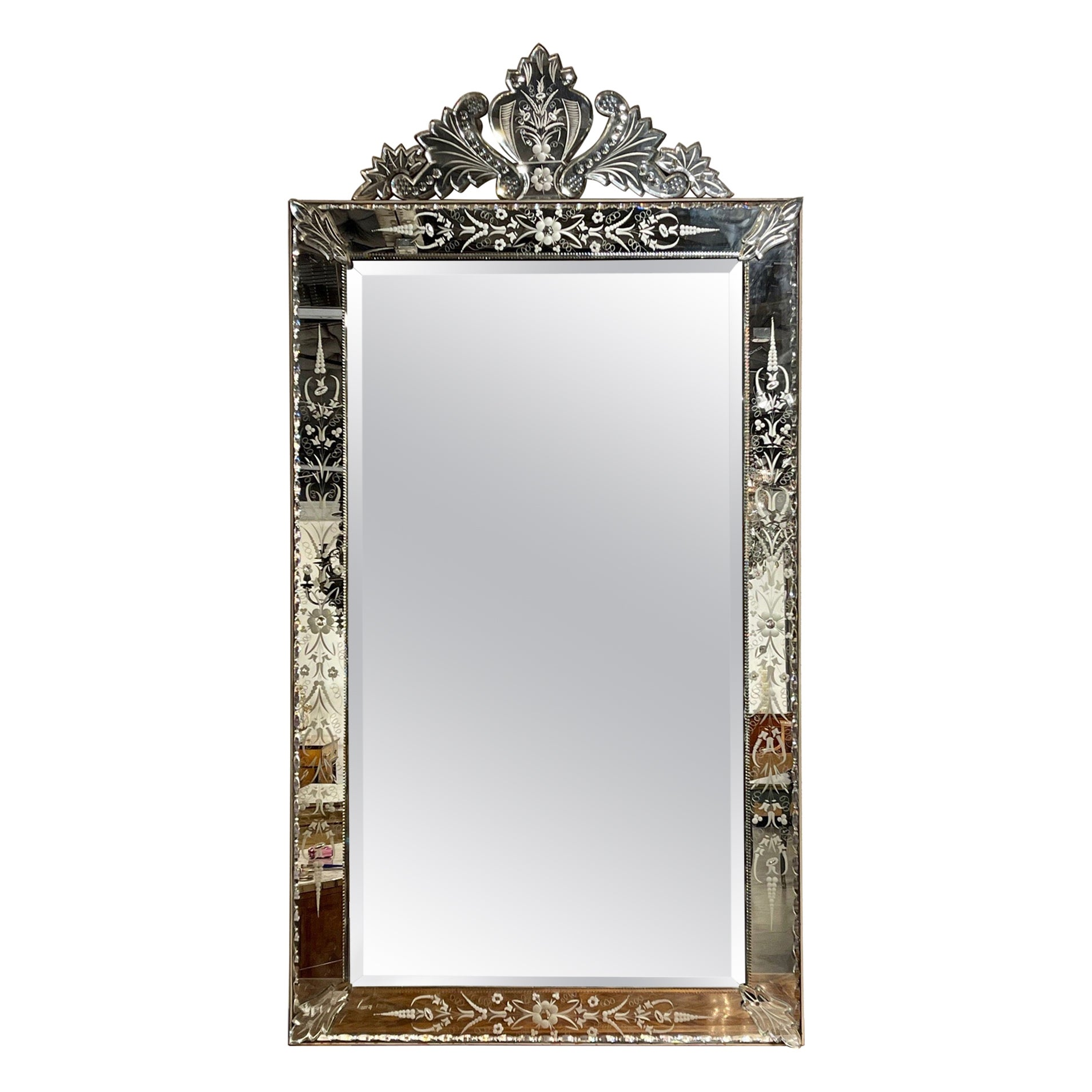 Early 20th Century Venetian Etched Glass Mirror