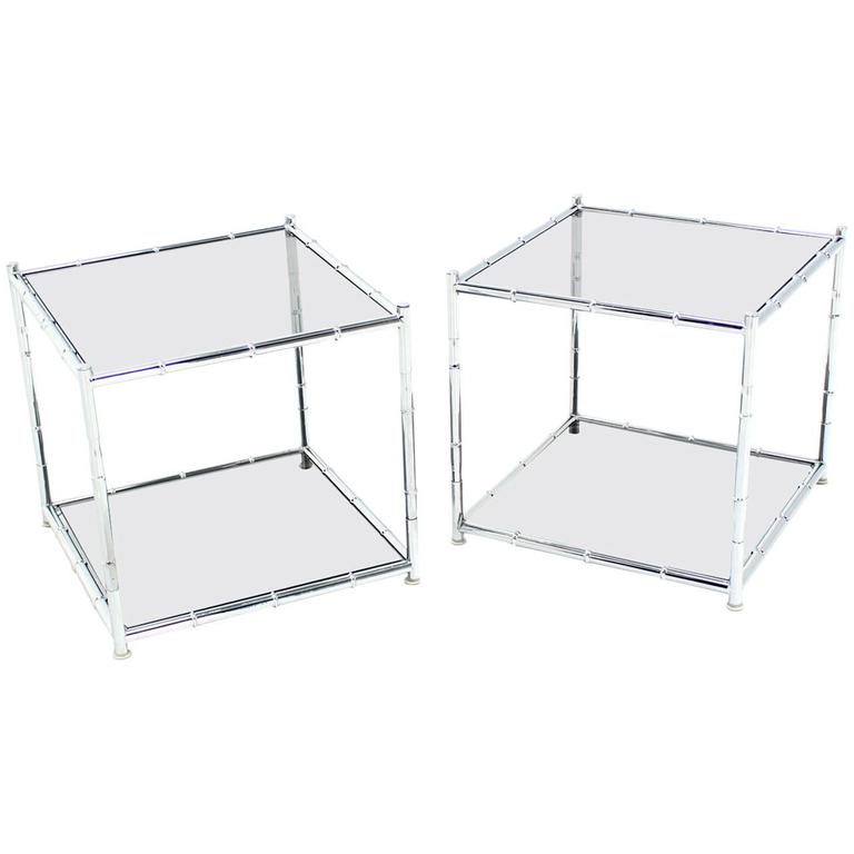 Pair of Cube Shape Chrome Faux Bamboo Frame End Tables Smoked Glass Top