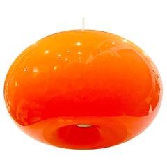 Space Age Rare Orange Glass Italian Hanging Lamp