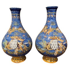 Pair of 19th Century French Hand Painted Faience Porquier-Beau Baluster Vases