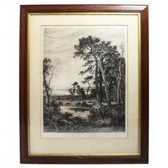 Large Edwardian Landscape Engraving Set in Mahogany Frame